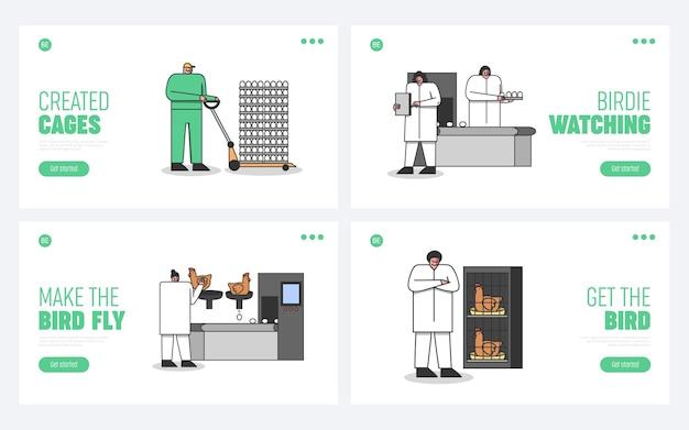 Zestaw stron docelowych dla przemysłu drobiu z pracownikami kreskówek na temat procesu hodowli
