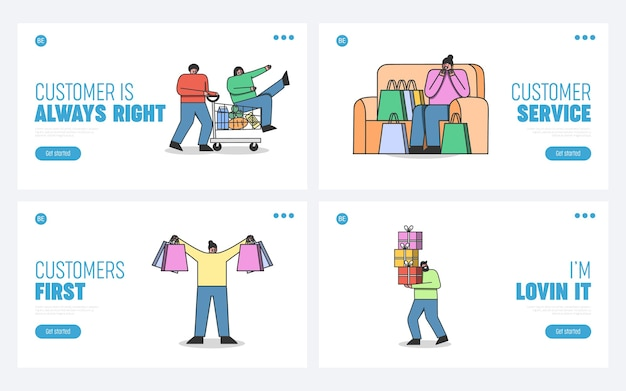 Zestaw stron docelowych dla witryny zakupów online