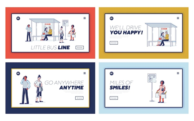 Zestaw stron docelowych dworca autobusowego. szablon strony internetowej z osobami czekającymi na autobus miejski