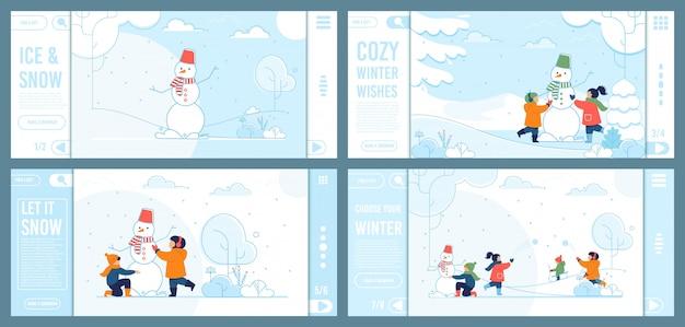 Zestaw stron docelowych oferta zimowa zabawa dla dzieci