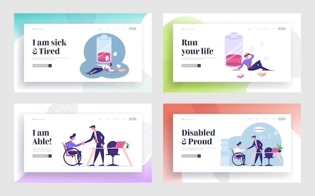 Zestaw stron docelowych witryny zatrudnienia dla osób niepełnosprawnych