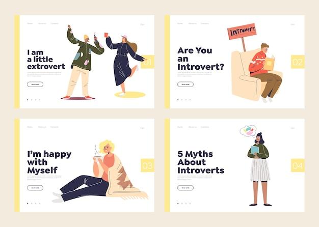 Zestaw stron docelowych z ekstrawertycznymi i introwertycznymi rodzajami relaksu i odpoczynku. ekstrawertyczni ludzie tańczą i introwertyczni - samotni spokojni.