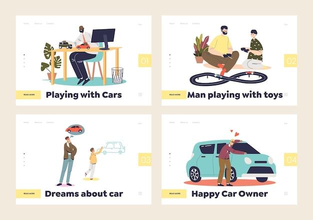 Zestaw stron docelowych z koncepcją miłości do samochodów