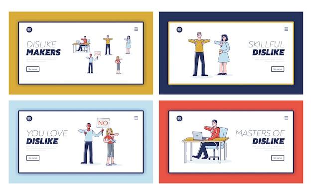 Zestaw stron docelowych z osobami wyrażającymi dezaprobatę. postaci z kreskówek przedstawiające kciuki w dół i negatywną opinię lub skargę