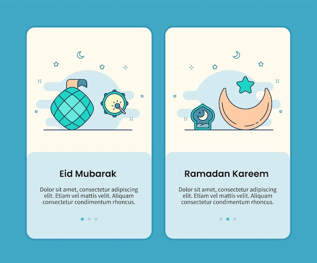 Zestaw stron mobilnych eid mubarak i ramadan kareem