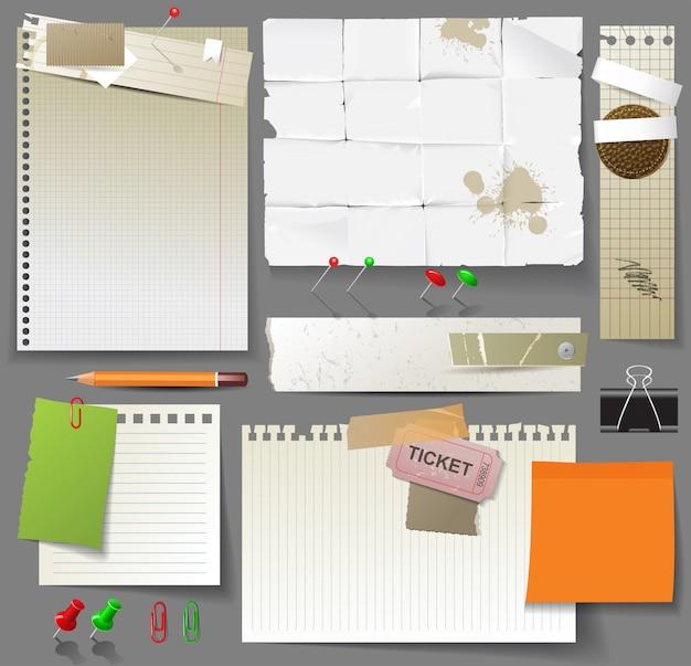 Zestaw stron papieru, arkuszy papieru i spinaczy