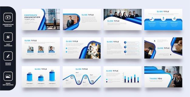 Zestaw stron szablon prezentacji nowoczesnych firmowych slajdów