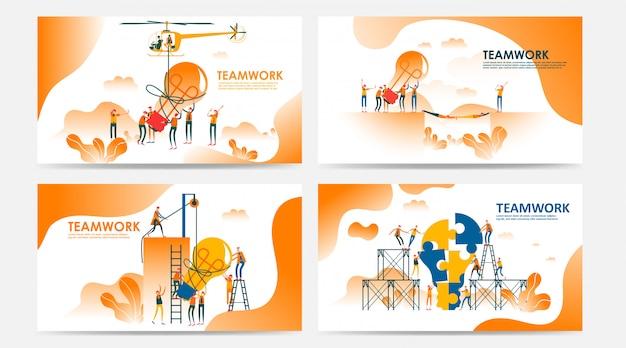 Zestaw strony docelowej i strony internetowej z koncepcją pracy zespołowej. wektorowa kreatywnie ilustracja biznesowi grafika ludzie, szuka nowych pomysłów. użyj do seo, projektowania stron internetowych, rozwoju interfejsu użytkownika, aplikacji biznesowej. - wektor