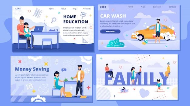 Zestaw strony docelowej lub szablonu sieci dla edukacji domowej, myjni samochodowej, oszczędności pieniędzy