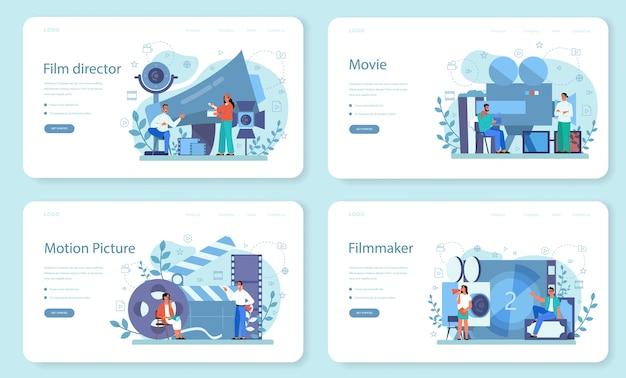 Zestaw strony docelowej reżysera filmowego. idea twórczego zawodu. reżyser filmowy prowadzący proces filmowania. grzechotka i kamera, sprzęt do kręcenia filmów. ilustracja na białym tle wektor