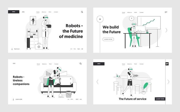 Zestaw strony docelowej witryny futuristic robotics technologies