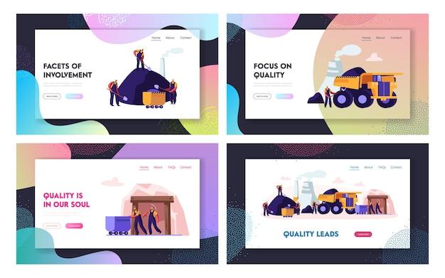 Zestaw strony docelowej witryny górnictwa węgla. górnicy pracujący w kamieniołomie z narzędziami, transportem i techniką. strona internetowa poświęcona branży sprzętu, transportu i wydobycia. ilustracja wektorowa płaski kreskówka