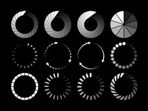Zestaw strony ładowania białej ikony na białym na czarnym tle. ikona statusu pobierania lub przesyłania. ilustracji wektorowych.