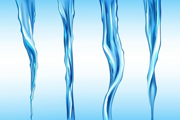 Zestaw strumieni wody, izolowany ruch przepływu cieczy