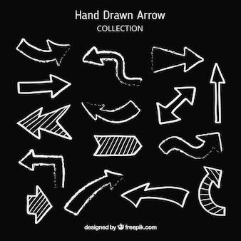 Zestaw strzałki do znaku w stylu wyciągnąć rękę