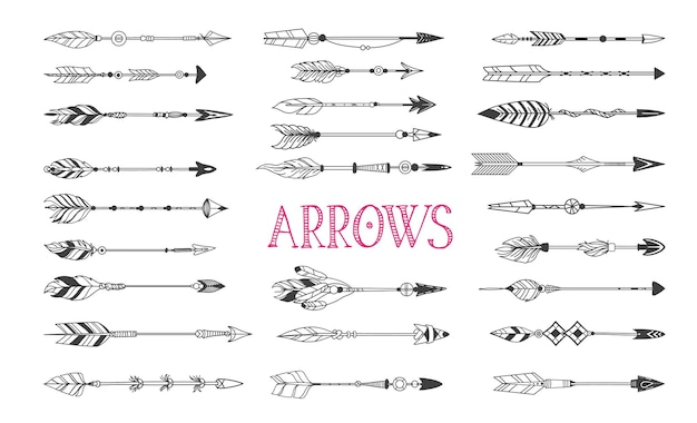 Zestaw strzałek boho, narysowane elementy tatuażu atramentu w stylu native american indian, strzałki vintage wektor.