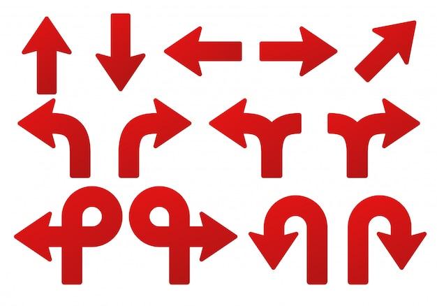 Zestaw strzałek. do wskazywania położenia czerwonej strzałki skierowanej w górę, w dół, w lewo i w prawo.