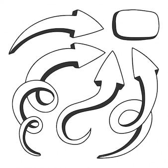 Zestaw strzałki wskazujące na rogu na banerze