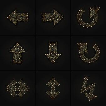 Zestaw strzałki złoty streszczenie ilustracji na ciemnym tle