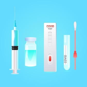 Zestaw strzykawek ze szczepionką covid-19 wymaz z butelki test nosowy i szybka kaseta walka z pandemią koronawirusa