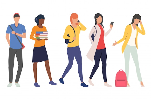 Zestaw studentów płci żeńskiej i męskiej w ruchu