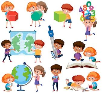 Zestaw studentów z narzędziami do nauki