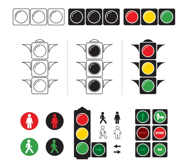 Zestaw stylizowane ilustracje sygnalizacji świetlnej z symbolami.