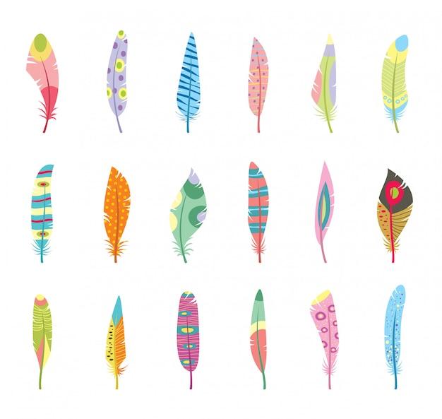 Zestaw stylizowane lub abstrakcyjne pióra i sylwetki piór