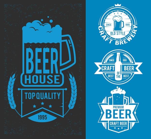 Zestaw stylizowany etykietę piwa. ilustracja wektorowa, ikony, etykiety, znaki, symbole i elementy projektu. retro hipster szablon z etykietą piwa. logo, ilustracja wektorowa element projektu etykiety.