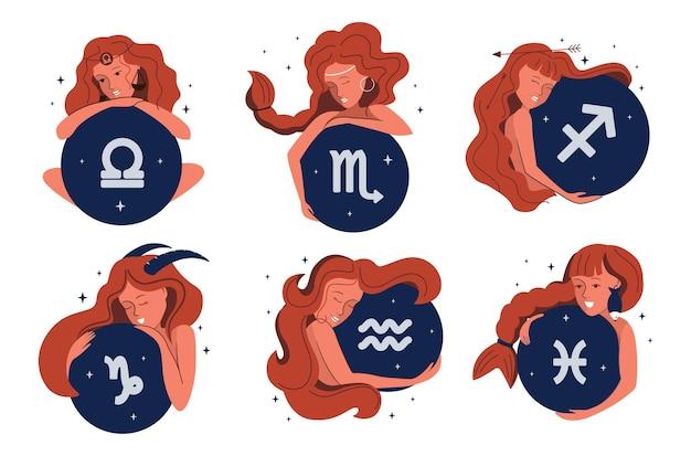 Zestaw stylizowanych dziewczynek i znaków zodiaku. postać z kreskówki jest dobra dla astrologii, horoskopów, konstelacji itp. ilustracja wektorowa kolekcji