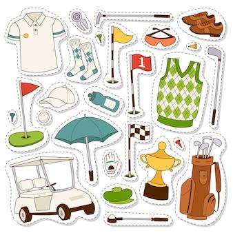 Zestaw stylizowanych ikon golfa