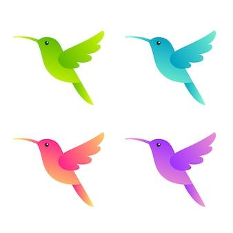 Zestaw stylizowanych kolibrów