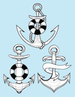 Zestaw stylizowanych kotwic okrętowych. kolekcja tatuaży z kotwicą.