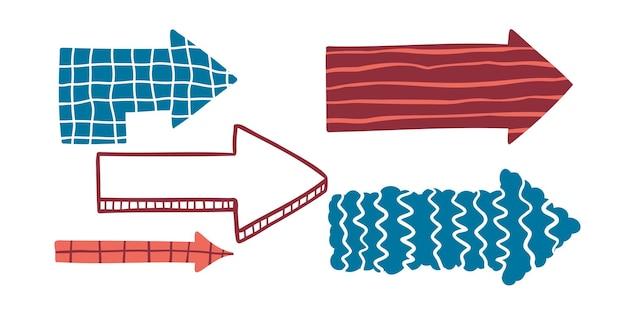 Zestaw stylizowanych strzałek doodle o różnych kształtach i teksturach h