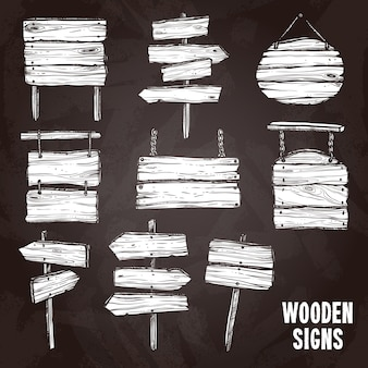 Zestaw stylów tablic drewniany znak