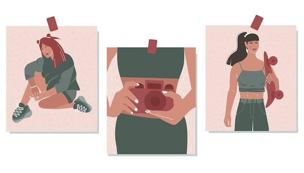 Zestaw stylowych ilustracji trzech sztuk. streszczenie kobiet. sztuka współczesna. ilustracja.