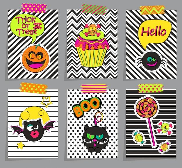 Zestaw stylowych kart halloween.