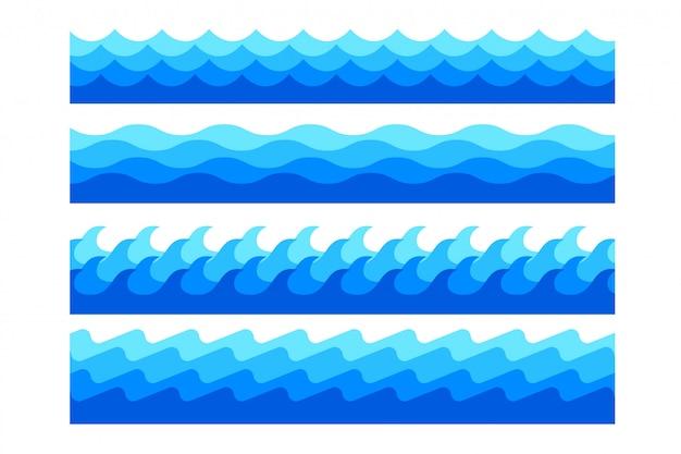 Zestaw stylowych morskich fal morskich w różnych kształtach