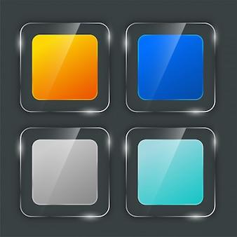 Zestaw stylowych przycisków ze szkła błyszczącego