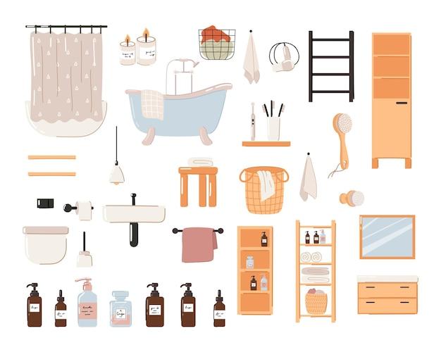 Zestaw stylowych skandynawskich wnętrz łazienkowych. nowoczesna wanna skandynawska, umywalka i toaleta.