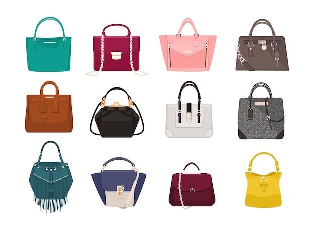 Zestaw stylowych torebek damskich - tote, shopper, hobo, kubełek, listonoszka i torebki. modne akcesoria skórzane różnych typów na białym tle. ilustracja wektorowa kolorowe.