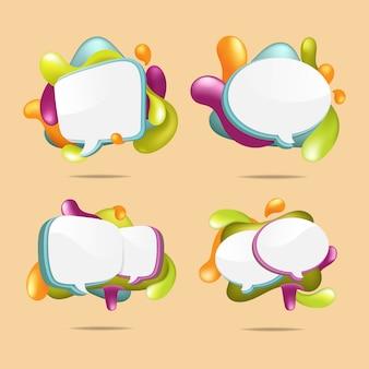 Zestaw stylu bubble talk z kolorowym błyszczącym abstrakcyjnym płynnym wzorem splash wokół