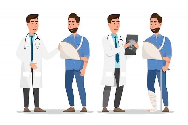 Zestaw stylu cartoon chorych ludzi. mężczyzna złamana ręka i noga z lekarzem