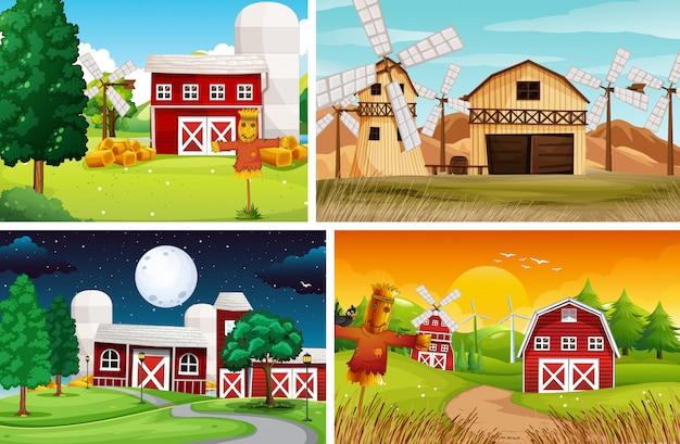 Zestaw stylu cartoon scena farmy