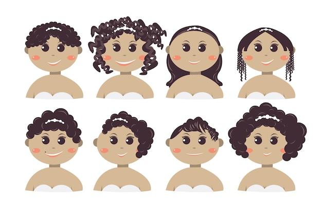 Zestaw stylu ślubnych kobiet ciemnoskórych ludzi.