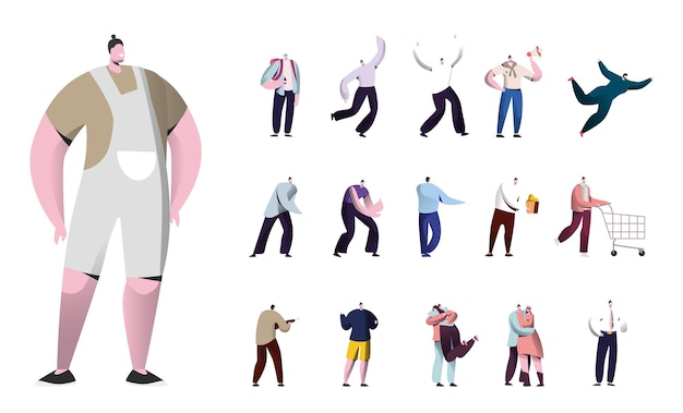 Zestaw stylu życia męskich postaci, mężczyzn z hipster fryzurę taniec, skakać, krzyczeć do głośnika, jeść pop kukurydzy i push koszyka na białym tle. ilustracja wektorowa kreskówka ludzie