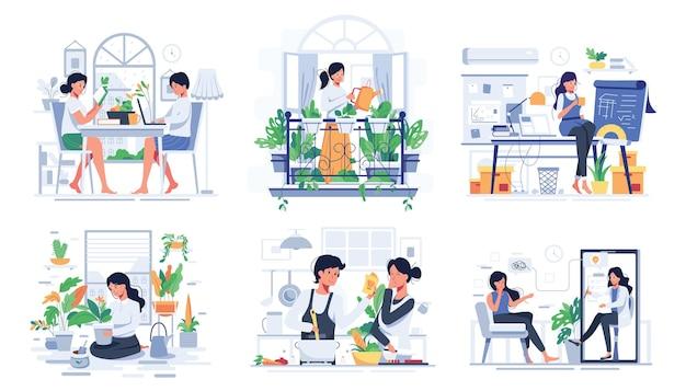 Zestaw stylu życia pary w domu w czasie odpoczynku, gotowania lub opieki nad roślinami w doniczkach w postaci z kreskówki, płaska ilustracja