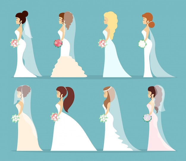 Zestaw sukni ślubnych. kobiety w różnych białych sukienkach.