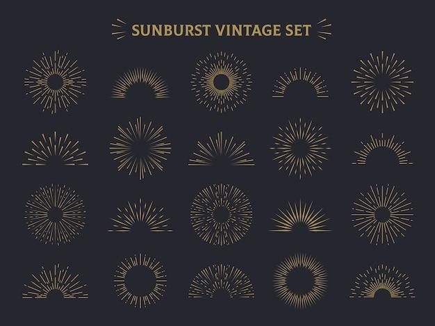 Zestaw sunburst. ręcznie rysowane promień słońca ozdobny retro vintage zestaw