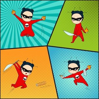 Zestaw Super Bohaterów. Sztuka Komiksowa Premium Wektorów